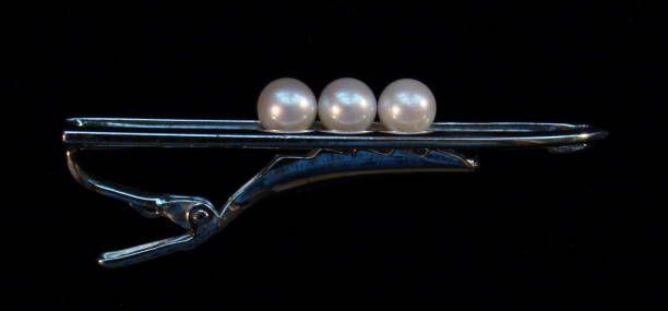 Mikimoto 3 Cultured Pearl Sterling Tie Clip in Original Box—Like Peas in a Pod!
