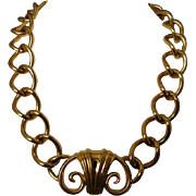 Monet Chunky Gold Tone Chain & Centerpiece Choker Necklace