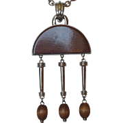 Florenza Boho Wood & Silver Color Metal Pendant Necklace