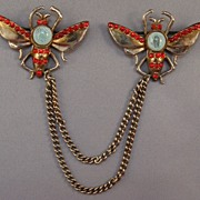 Chatelaine--Winged Bug Insect Figural Brooch Pins, Red Rhinestones, Green Belly