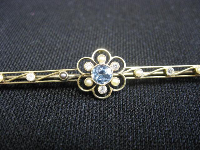 Antique 15K Gold, Diamond, Blue Zircon & Pearl Bar Pin from ...