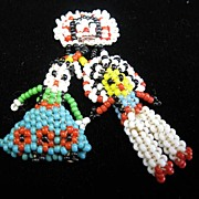 Vintage Indian Beaded Brooch With Chief & Woman