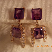 Amethyst & Diamond Earrings,