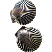 Sterling Beau or Beaucraft Shell earrings: 1950-60, Providence RI On Sale