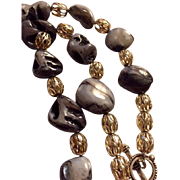 Artisan Necklace: Zebra quartz nuggets: Silver filigree beads: 20 ""