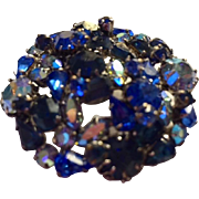 Rhinestone pin: Austrian Aurora Borealis: shades of blues: hallmarked :Made is Austria: