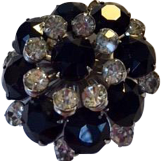 Brilliant  jet and clear rhinestone pin: riveted stones. vintage