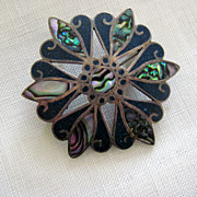 On Sale: Taxco Mexican pin: sterling, abalone, blue stone: 925, silhouetted eagle. VDB in circle  swirl pin. Vintage 50s or 60s