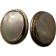 On Sale: Sterling Clip earrings: Mother of Pearl: Becky Thatcher: vintage 1980