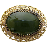 On Sale: Jade brooch/pendant: gold vermeil over sterling: Karen Lynne Maker: 50s: has bail: Nephrite jade:
