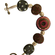 On Sale; Kazuri bead bracelet, African Kazuri pottery beads with filigree silver, rose, tan, blue and black  colors.  7.5""