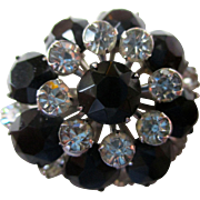 "Vintage: Rhinestone pin, 1950s black french jet and clear rhinestones 1.25"" in diameter"