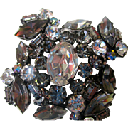 "On Sale:  Austrian rhinestone pin,  2"", tiered, domed, vintage aurora borealis"