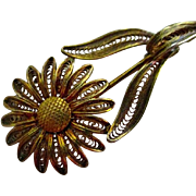 On Sale: Delicate and beautiful vintage  filigree sunflower pin