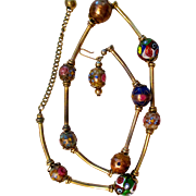 On Sale:  Vintage necklace, cloisonné beads and gold washed tubes on a golden chain,