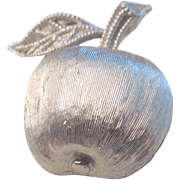 On Sale: Apple pin.  Heavy small apple silver tone pin.  Hallmarked 3D