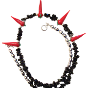 On Sale: Artisan necklace, Black jet squares, and glass chili peppers,  silver barrels, toggle clasp 20""