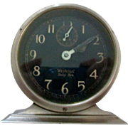 Reduced Baby Ben Westclox, style 2 1927-1932, luminous nickel, alarm top slide, Art Deco, Works,