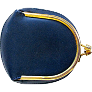 On Sale: Italian leather royal blue coin purse, gold trim and clasp, vintage 50s 60s never used