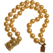 Reduced Vintage Verdome two strand cultured pearl bracelet, a double pearl and rhinestone farm, 7 inches