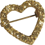 "Vintage valentine heart pin.  1""  Quality Rhinestones perfect condition"