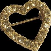 "On Sale:  valentine heart pin.  1""  Quality Rhinestones perfect condition"