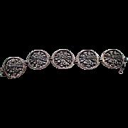 "Finnish Kultateollisuus Ky sunburst bracelet, Modernist Scandinavian jeweler, Lindroos, 830H, 839/100, Scandinavian silver purity, hallmarked, 7.5"""