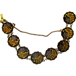 Gold tone and silver tone inlay link bracelet, flowers on black background, Japanese, mid century, engraved on gold backside
