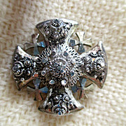 Vintage: Silver Maltese Cross brooch/pendant: from Jerusalem: 1970s:  3D design very unusual: On Sale