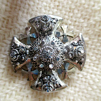 vintage Maltese Cross brooch/pendant, from Jerusalem, 1970s, silver