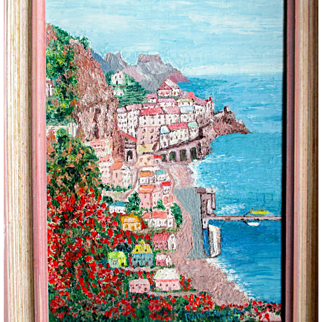 Oil painting of Sorrento Italy: vintage professionally framed:  60s: Ruth S. Proctor
