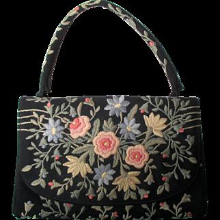 Vintage Marketa embroidery black evening bag: Rio de Janeiro: 1950s-1960s: