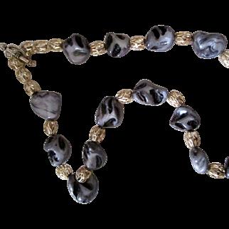 "Handcrafted Artisan 18"" Zebra quartz necklace: filigree oval SP beads: toggle clasp"