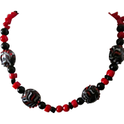 "Necklace: 21"" black jet, red coral, lampwork: unique: handcrafted: artisan"