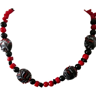 "Artisan Necklace Handcrafted original 21"" black jet, red coral, lampwork beads necklace."