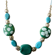 "On Sale: Artisan Original African Kazuri bead 25"" necklace: silver filigree, barrel beads, sun aqua beads: Kazuri beads from Kenya, closed with a toggle"