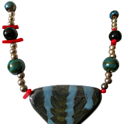 "Necklace: African Kazuri beads 24"": Kenyan beads: coral dashes and silver rounds:"