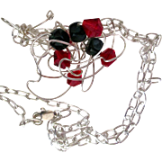 On Sale: Original handcrafted necklace: silver cloud with red and green crystals:  25""