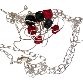 Original handcrafted necklace: silver cloud with red and green crystals:  25""