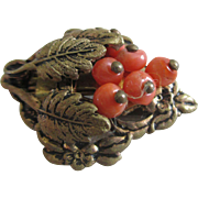 On Sale: Vintage clip: coral beads: brass leaves: diminutive:
