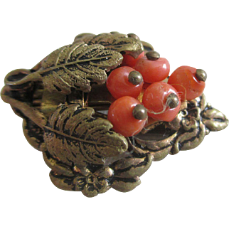 Vintage clip: coral beads: brass leaves: diminutive: