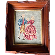 "Vintage needlepoint: colonial figures picture in Georgian dress: Carved Mahogany gold insert frame, 12"" by 14"""
