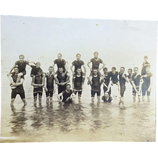 On Sale: Vintage photo: 21 Men posing in their swim suits: @1925: Toledo, Ohio
