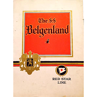 On Sale: Rare Vintage Cruise Memorabilia: S.S. Belgenland: Red Star Line: Cruise booklet: @1930s: