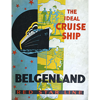 Rare Vintage Cruise Memorabilia: S.S. Belgenland: Red Star Line: Deck map and Bermuda Map: @1930s: