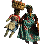 Vintage: Jamaican dolls: two ladies: Grandma with a sisal bag: Lady fruit basket on head: excellent condition: 1940s-50s