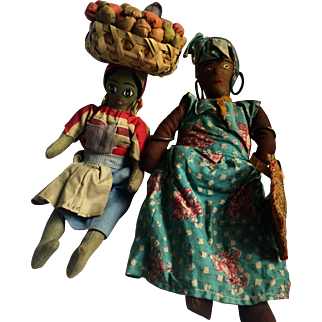 Vintage dolls: 2 Jamaican ladies: Grandma with a sisal bag: Lady fruit basket on head: excellent condition: 1940s-50s