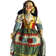 Vintage: Italian peasant doll: late 40s 50s: 1300ps: cloth body: composition head: excellent condition: vintage