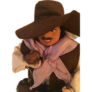 On Sale: Vintage Doll: Gaucho cowboy from Montevideo Uruguay, South America: Casa Montevideo: 1950-60s