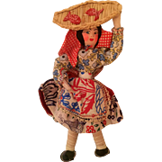 Vintage: Portugal fish seller woman doll:  1950s: hand painted face: composition and wire: basket with fish